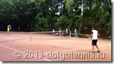 Летний теннисный лагерь в Долгопрудном. На корте Дима Кураксин и Макар Смоляков.