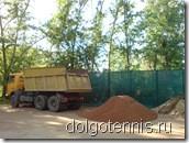 Восстановление грунтового корта МФТИ после аварии. Май 2011.