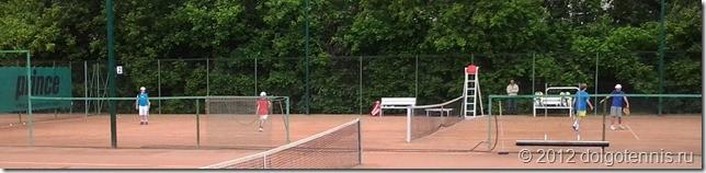 "Теннис в Долгопрудном. На корте Макар Смоляков и Митя Мартинович (справа) - победители ""Кубка Балашихи"" в парном разряде."