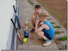На теннисном корте пос. Северный. Даня Греков, Саша Хумонен. Теннис в Долгопрудном. 2003 год