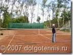 Одним из первых опробовал теннисный корт после реконструкции Миша Дорофеев. Июнь 2007 г. Долгопрудный.
