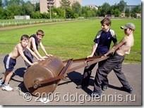 Теннис в Долгопрудном. Летний лагерь 2005 г. Саша Попов, Миша Дорофеев, Рома Барбосов, Даня Греков.
