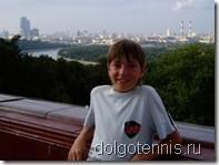 Миша Дорофеев - победитель первых городских соревнований по теннису среди школьников Долгпрудного. Август 2007.