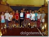 Никита Иванченко (в центре) с грамотоой за второе место на турнире ДЮСШ 3 ноября 2008 г. Догопрудный.
